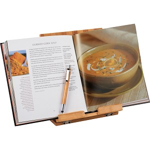 <b>Tablet or Recipe Book Stand with Ballpoint Stylus